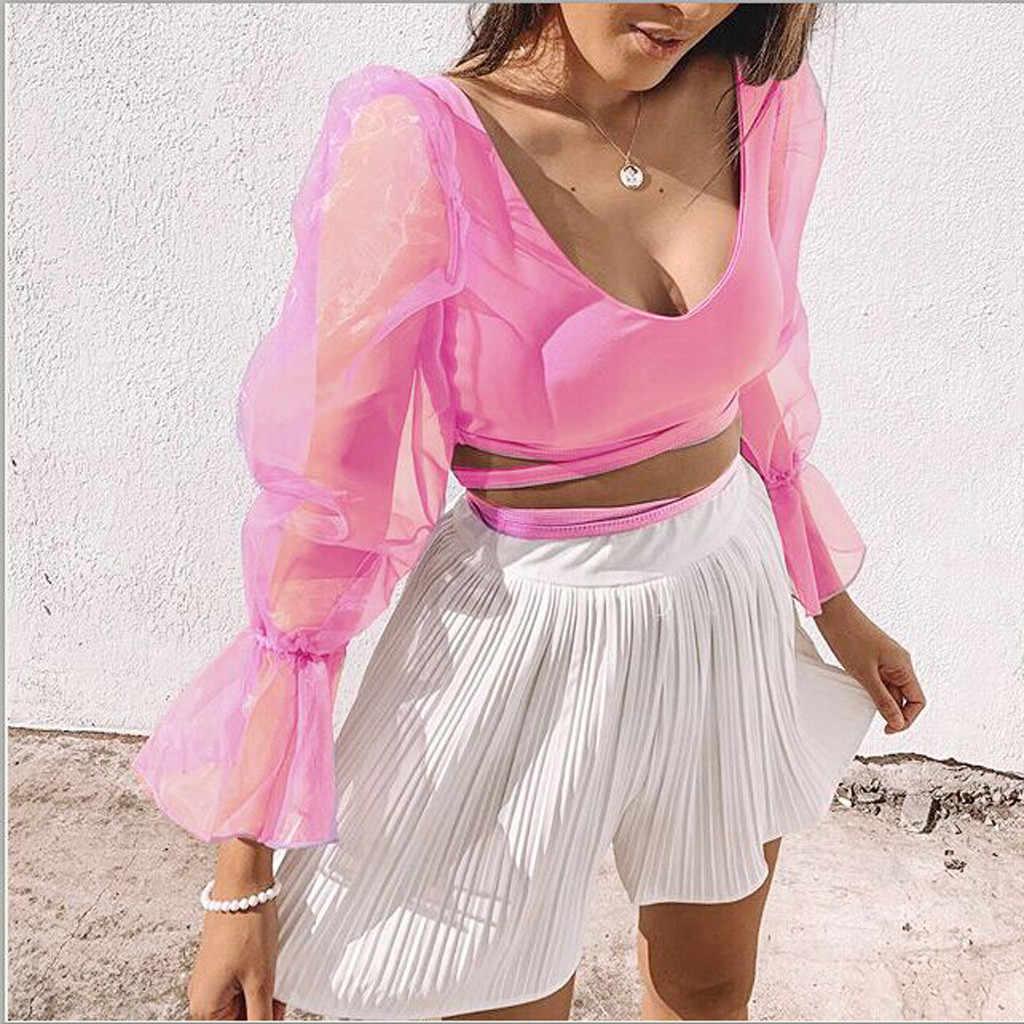 Frauen Slim Fit Casual Cropped Tops Sheer Low cut SplicedCasual Shirts Mesh Puff Sleeve Crop Top Stilvolle Bluse Größe S-XL
