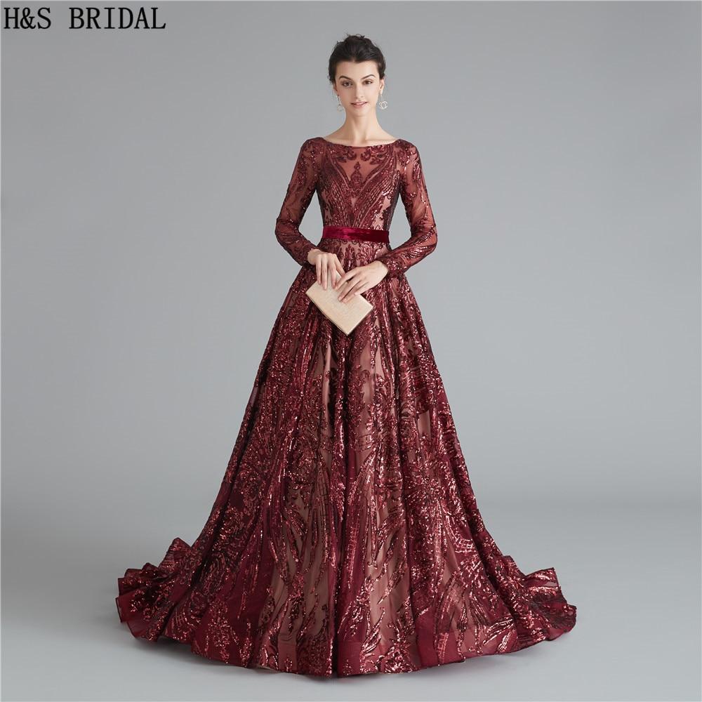 US $10.10 10% OFFBurgund Langarm Abendkleid Pailletten Backless  abendkleider lange Elegante abendkleider robe de soiree formale  kleidAbendkleider