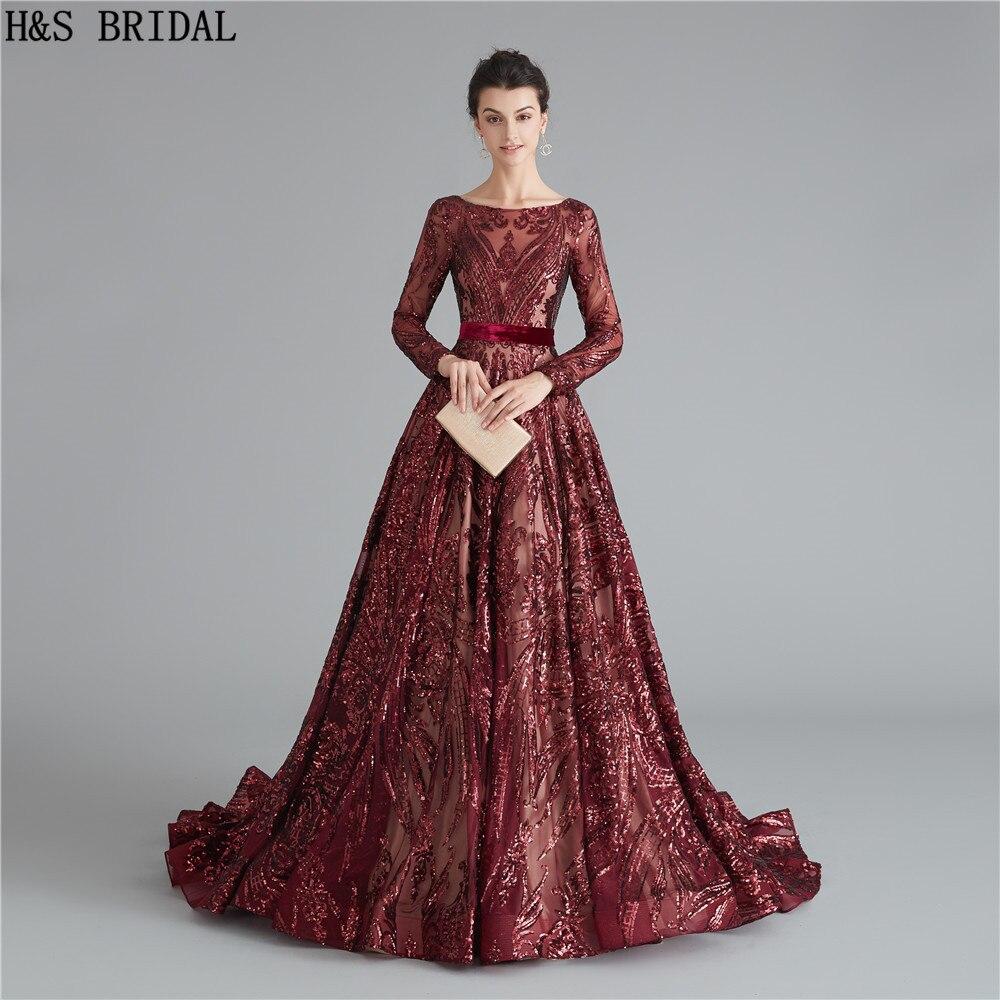 Burgundy Long Sleeve Evening Dress Sequins Backless Evening Dresses Long Elegant Evening Gowns Robe De Soiree Formal Dress