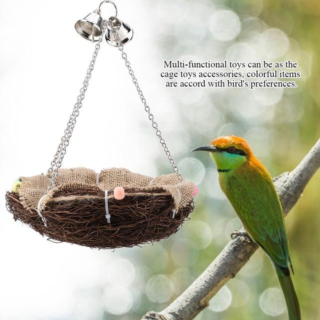 Parrot Hanging Rest Nest Basket Cage Birds Toy With Bell Bite Pet Cockatiel Parakeet Funny Stand Rest Perch Swing 5 4