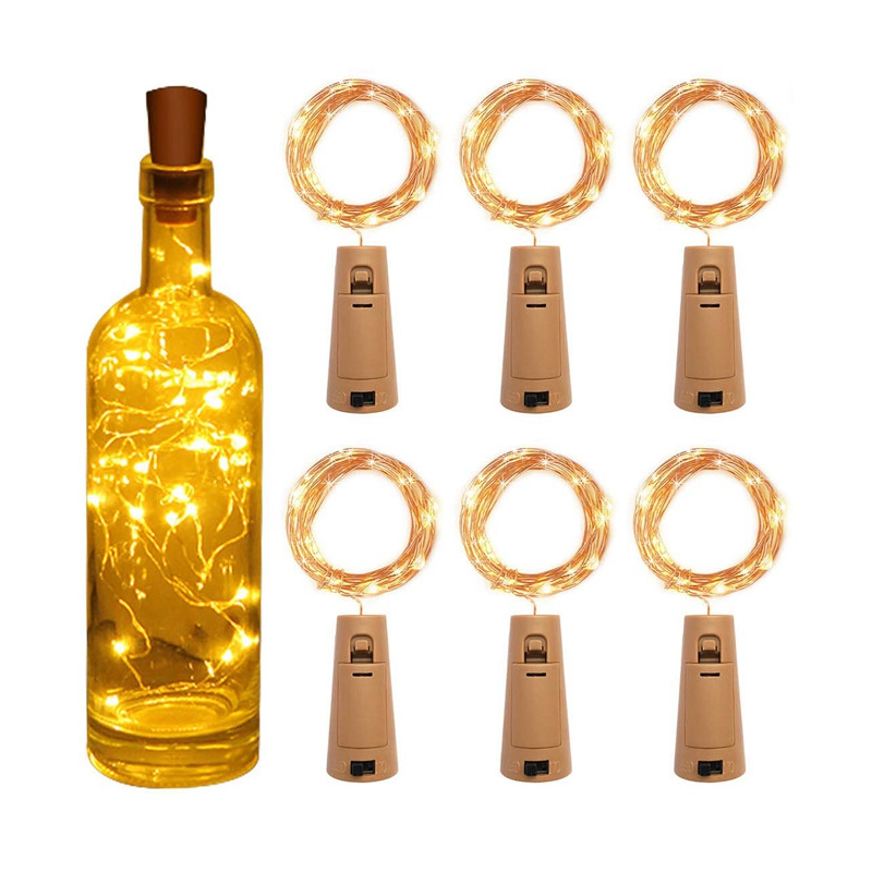 Feleph Wine Bottle Lights LED 8 Dimmable Modes Fairy Lights Battery Operated Silver Copper Wire String Lights For Party DIY Deco