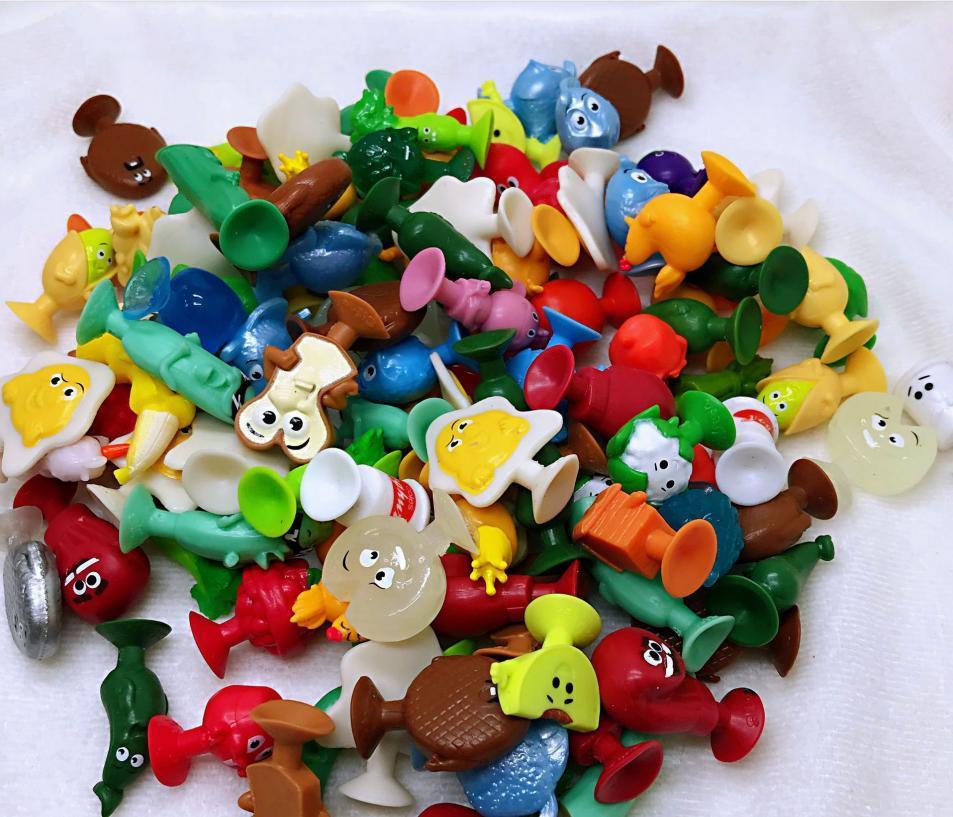 25/50/100 шт. stikeez мини ультразвуковой овощей присоски куклы игрушки для детей с изображением героев мультфильмов, фруктов, животных капсула фиг...