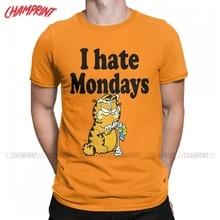 Men I Hate Mondays Garfield T Shirt Cartoon Cat Pure Cotton Clothing Fashion Short Sleeve Crewneck Tees 4XL 5XL T-Shirts