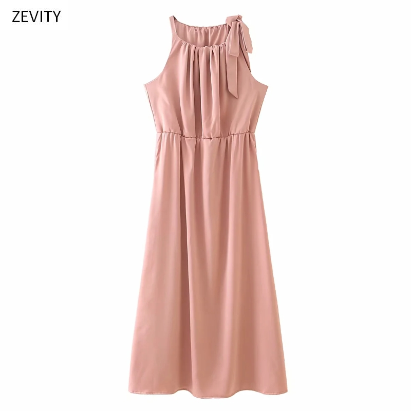 Zevity New women elegant pleats o neck sleeveless solid casual slim midi dress chic female bow decoration party dresses DS3965
