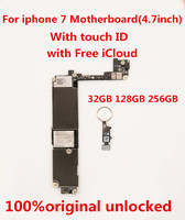 100%original unlocked for iphone7 128GB Motherboard With touch ID with Free iCloud ,128GB for iphone 7 128gb+tool+gift
