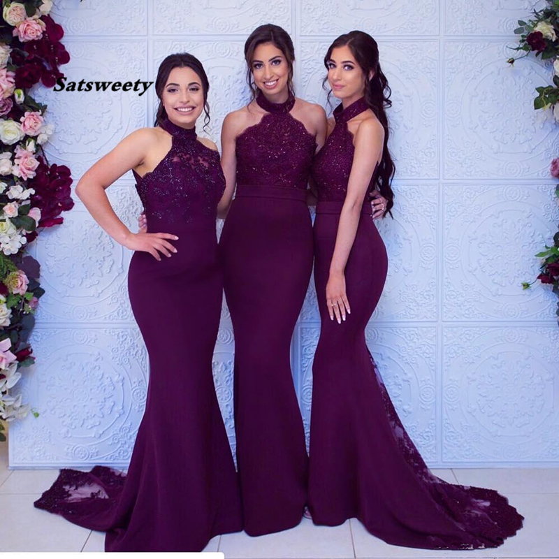 Sexy Grape Mermiad Bridesmaid Dress Cheap Long High Neck Wedding Guest Black Girl Wedding Prom Party Gowns