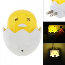 Cute Yellow Duck LED Night Light Wall Socket Light-control Sensor LED for Home Bedroom Children Kids Gift