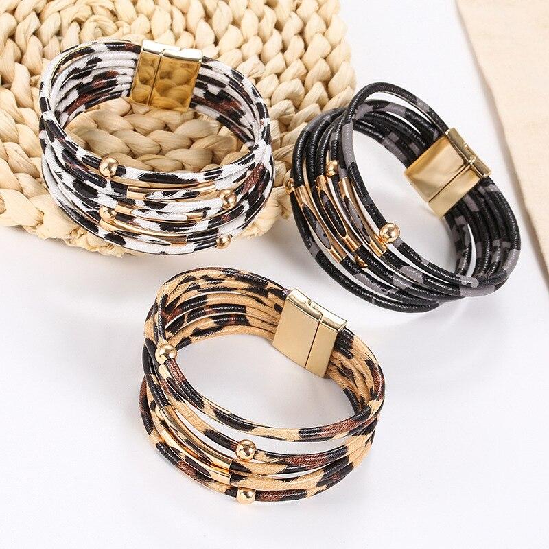 New Fashion Amorcome Leopard Leather Bracelets For Women Bracelets & Bangles Elegant Multilayer Wide Wrap Bracelet Jewelry