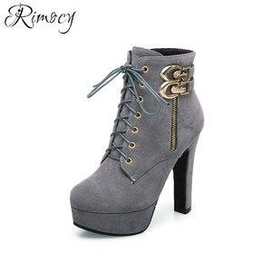 Image 5 - Rimocy 2019 新秋のアンクルブーツプラットフォームハイヒールの靴女性バックルショートブーツカジュアルフェイクスエード靴