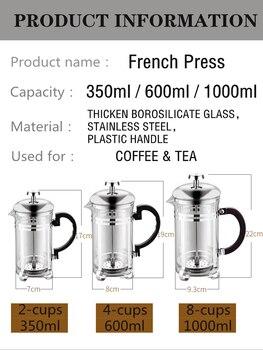 350/600/1000ml Coffee Tea Pot Manual French Presses Pot Coffee Maker Filter Pot Cafetera Expreso Percolator Tool Tea Filter Cup 2