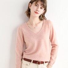 Hot Sale Cashmere Knitted Sweater Women V-neck Long Sleeve Standard Knitwear Autumn Winter Fashion Female Soft S-2XL10 Colors Ju