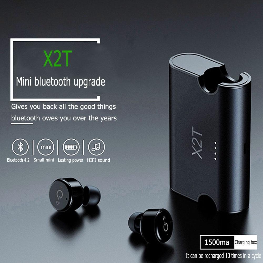 X2T Mini Wireless Bluetooth 4.2 Earphone Stereo Earphones Noise Canceling Headset In-Ear Earpiece Earbuds,1500mAh Charging Box