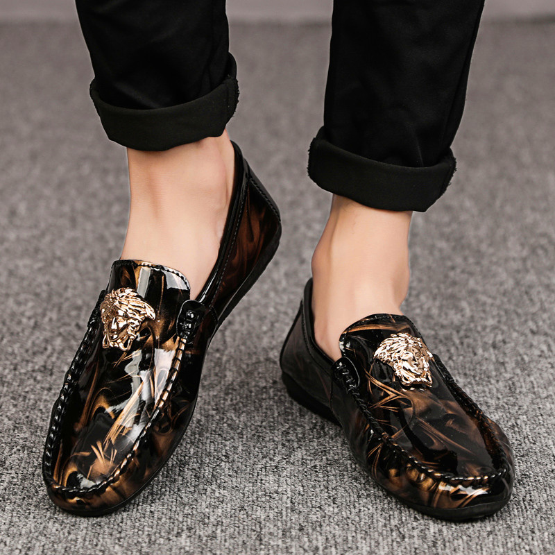 Explosive Leather Face Tiger Head Four Seasons Wild Peas Shoes Wild Shoes Slip-On Men's Casual Shoes Men's Fashion Sneakers