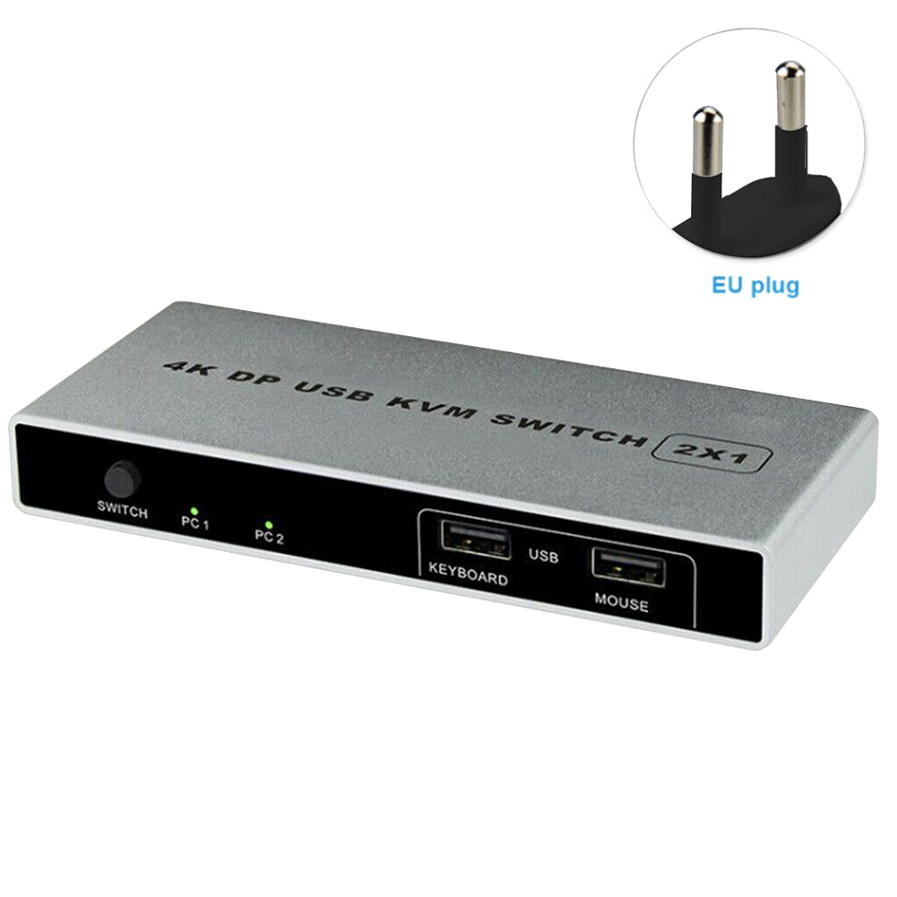 Displayport Connection Mouse Support Stable VGA 4K 60Hz HDMI USB Monitor 1 Out Controller Computer KVM Switch Dual Port