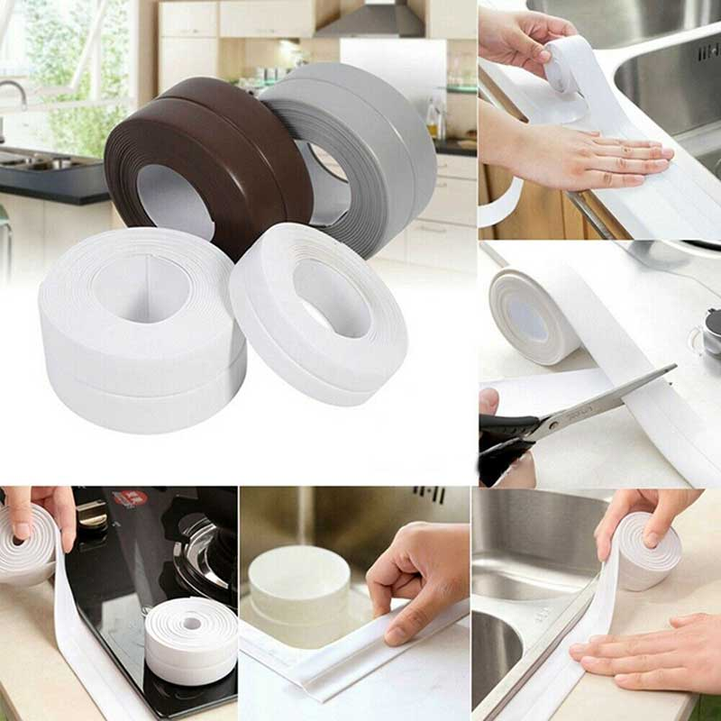 3.2 Meters Bathroom Shower Sink Bath Sealing Strip Tape White PVC Self Adhesive Waterproof Wall Sticker For Bathroom Kitchen