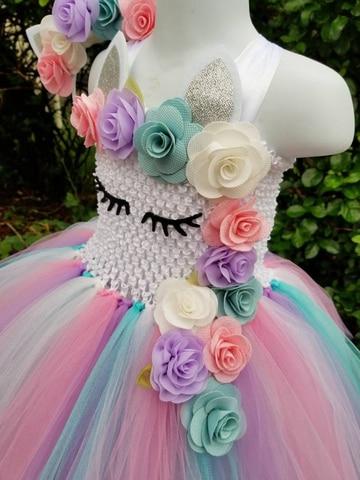 bonito do bebe unicornio flor tutu vestido