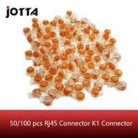 50/100 Uds. Conector Rj45, terminales de conexión Crimp, conector K1, Cable Ethernet resistente al agua, Cable telefónico