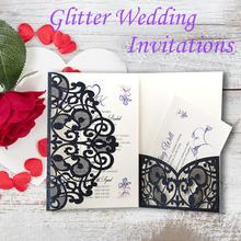 10PCS European Style Glitter Invitations Laser Cut Wedding Cards Festive Greeting Party Decoration