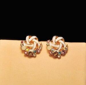 Image 3 - Kolorowe kolczyki Rhinestone Hot koreański Fashion Lady Temperament bankiet ślubny wykwintna biżuteria prezent hurtowo