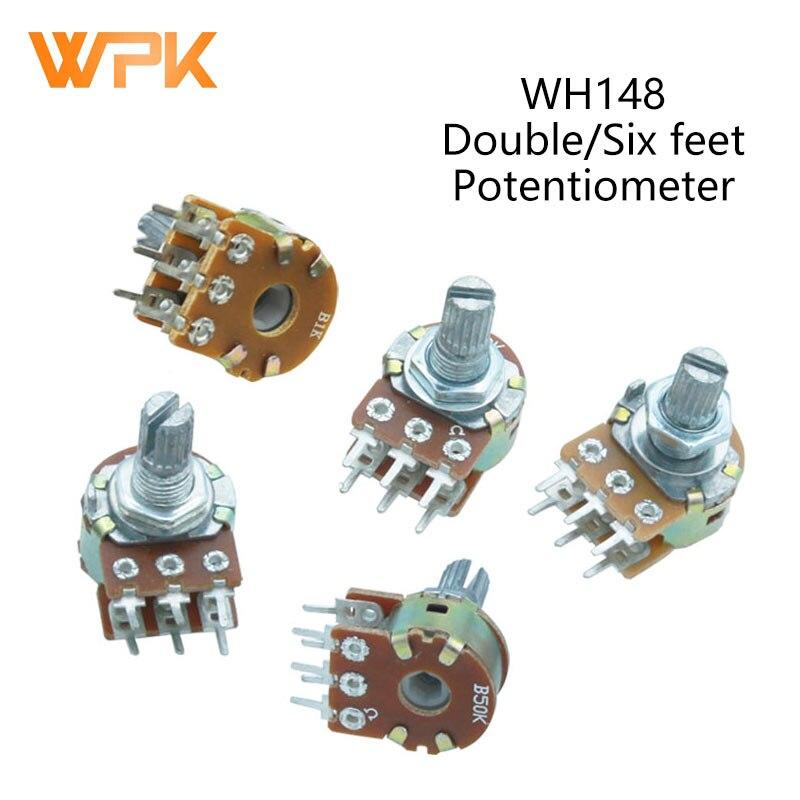 Усилитель вала WH148, 6 контактов, 15 мм, 1K, 2K, 5K, 10K, 20K, 50K, 100K, 500K, двойной стерео потенциометр B1K, B2K, B5K, B10K, B20K, B50K, B100K, 2 шт.