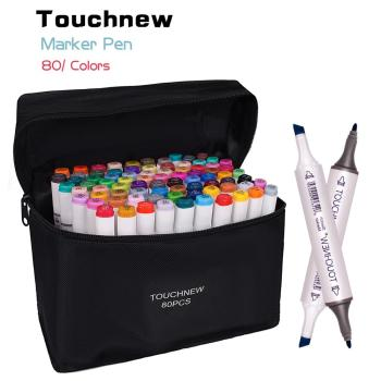 80 pcs assorted color dual tips paint art sketch twin marker pen alcohol based ink for art crafting poster coloring highlighting TOUCHNEW 30/40/48/60/80/168 Colors Art Markers Graphic Drawing Painting Alcohol Art Dual Tip Sketch Pen Twin Marker Design Pen