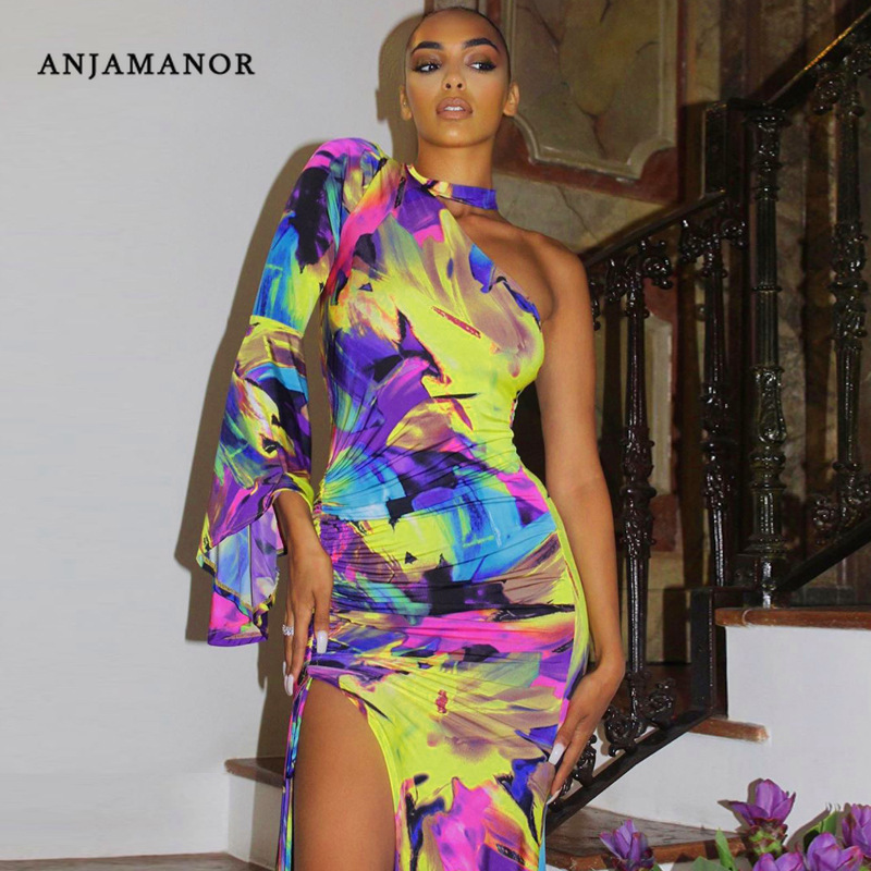 ANJAMANOR 2020 New <font><b>Sexy</b></font> <font><b>Dresses</b></font> for Party Night Club Colorful Tie Dye One Shoulder <font><b>High</b></font> <font><b>Slit</b></font> Bodycon <font><b>Maxi</b></font> <font><b>Dress</b></font> D70-AF20 image