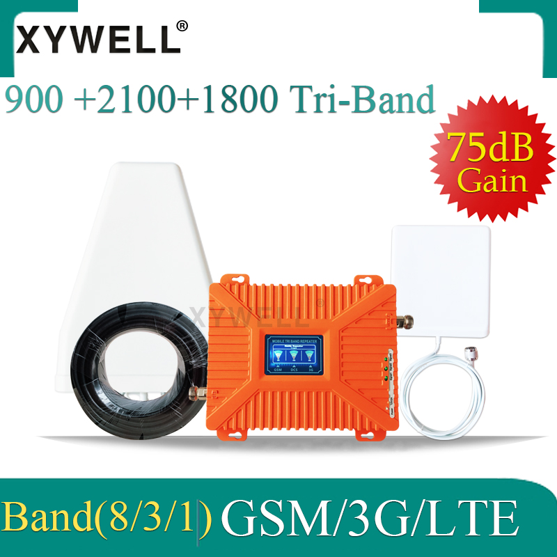 XYWELL GSM 3G 4G Signal Amplifier 900 1800 2100 Tri-Band Booster 2G 3G 4G LTE 1800 Cellular Signal Repeater Cell Phone Signal