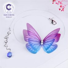HanCheng New Fashion Rhinestone Created Crystal 3D Butterfly Choker Necklace Women Necklaces Hide Chain collar jewelry bijoux(China)