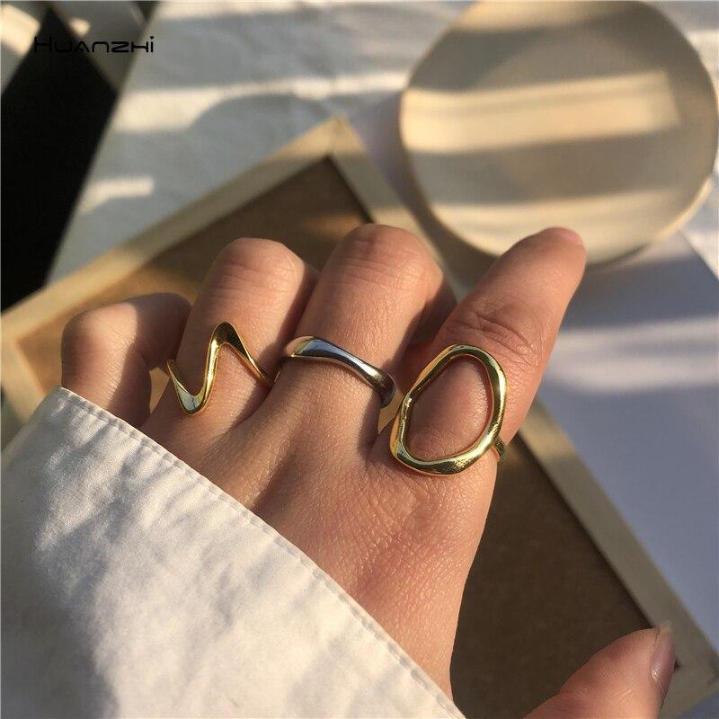HUANZHI 2020 Новое геометрическое овальное асимметричное глянцевое простое прямое регулируемое Открытое кольцо для женщин вечерние ювелирные изделия|Кольца|   | АлиЭкспресс