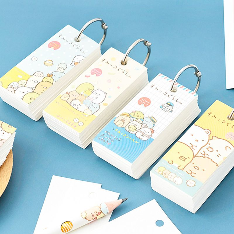 Mini Portable Memo Note Binder Ring Easy Flip Study Memo Pads Student Pocket Word Book Notepad DIY School Office Supplies C26