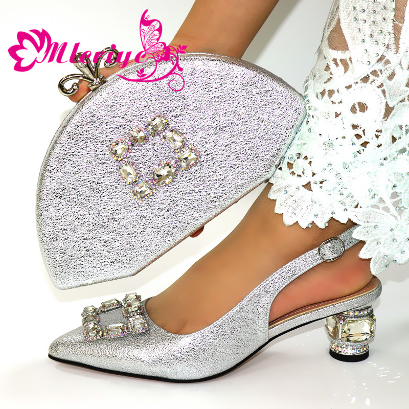 Silver Shoes With Matching Bags For Wedding Women Shoes And Bag To Match For Party Nigerian Shoes And Bag Set