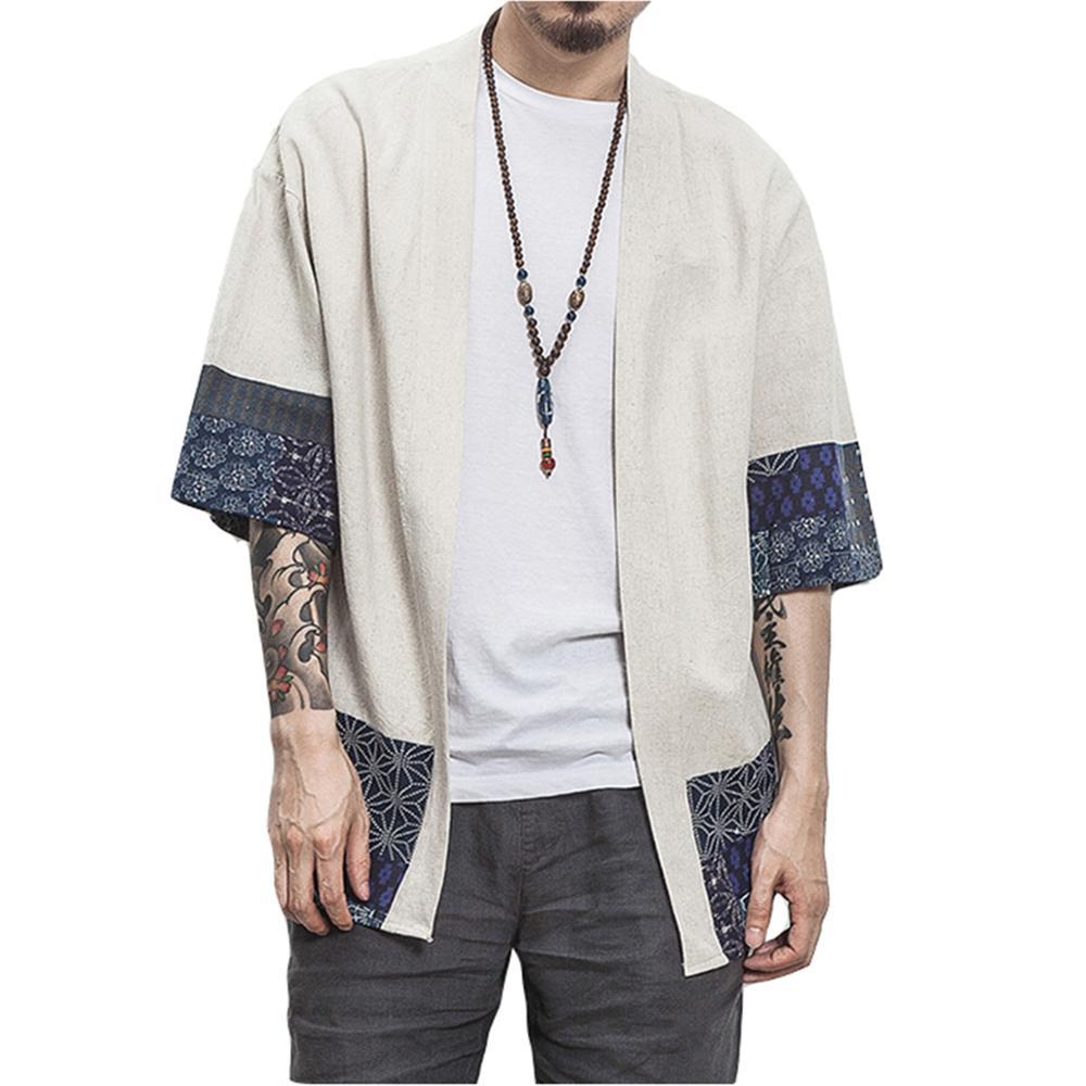 FashionCotton Linen Shirt Jackets Men Chinese Streetwear Kimono Shirt Coat Men Linen Cardigan Jackets Coat Plus Size 5XL