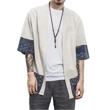 FashionCotton Linen Shirt Jackets Men Chinese Streetwear Kimono Shirt Coat Men Linen Cardigan Jackets Coat Plus Size 5XL