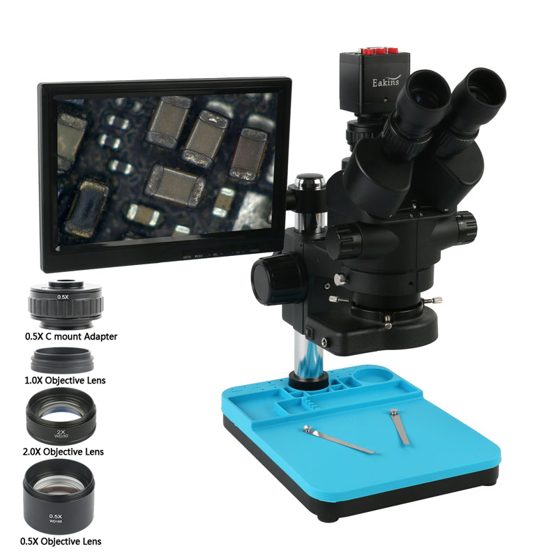 3.5X 7X 45X 90X Simul Focal Stereo Microscope Trinocular Microscope + 1080P HDMI VGA Video Camera With LCD Display Monitor