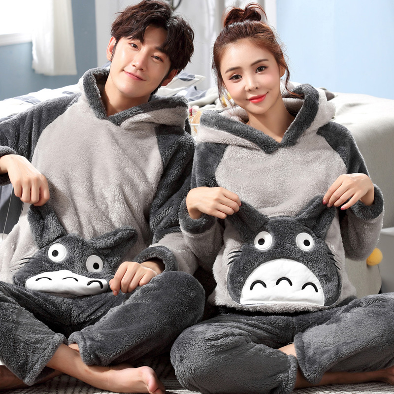 Sleep Wear Pyjama Femme Feminino Night Wear Grey White Sets  Warm Lover Hooded Sleepwear Women Cartoon Coral Fleece Lounge Set