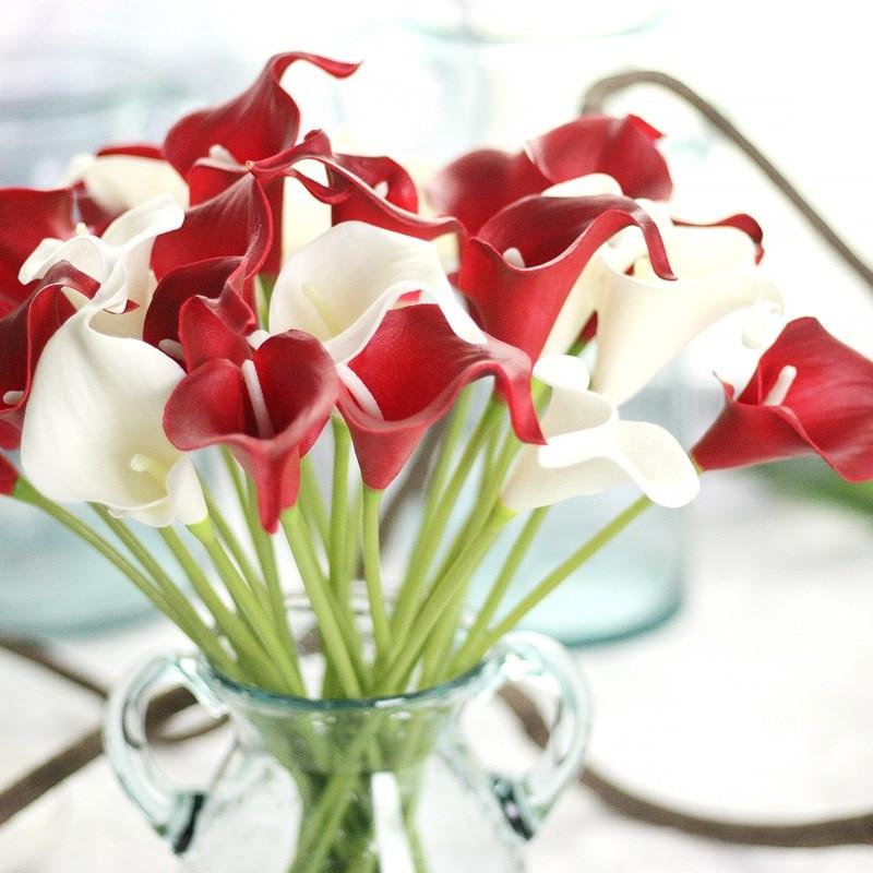 31pcs Tulip Artificial Flowers PU Wedding Decor Simulation Bride Bouquet Calla Real Touch Flores Para Home Garden & Wreath