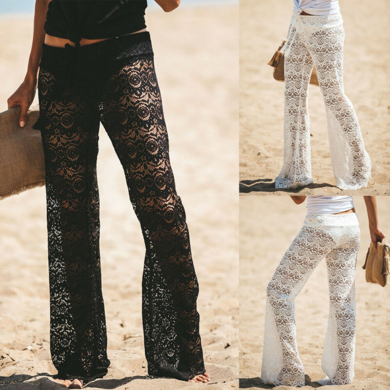 Summer Female Lace Long Pants Boho Womens Loose Wide Leg Pants Printed Beach Casual Summer Trousers Cover Up Black White Pants