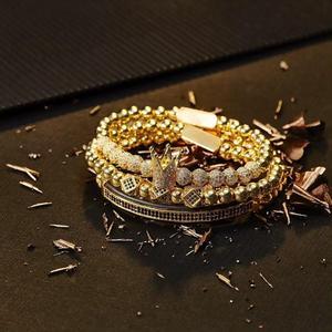 Image 5 - Hommes Bracelet bijoux 4 pièces/ensemble couronne breloques macramé perles Bracelets tressage homme luxe bijoux pour femmes bracelet cadeau