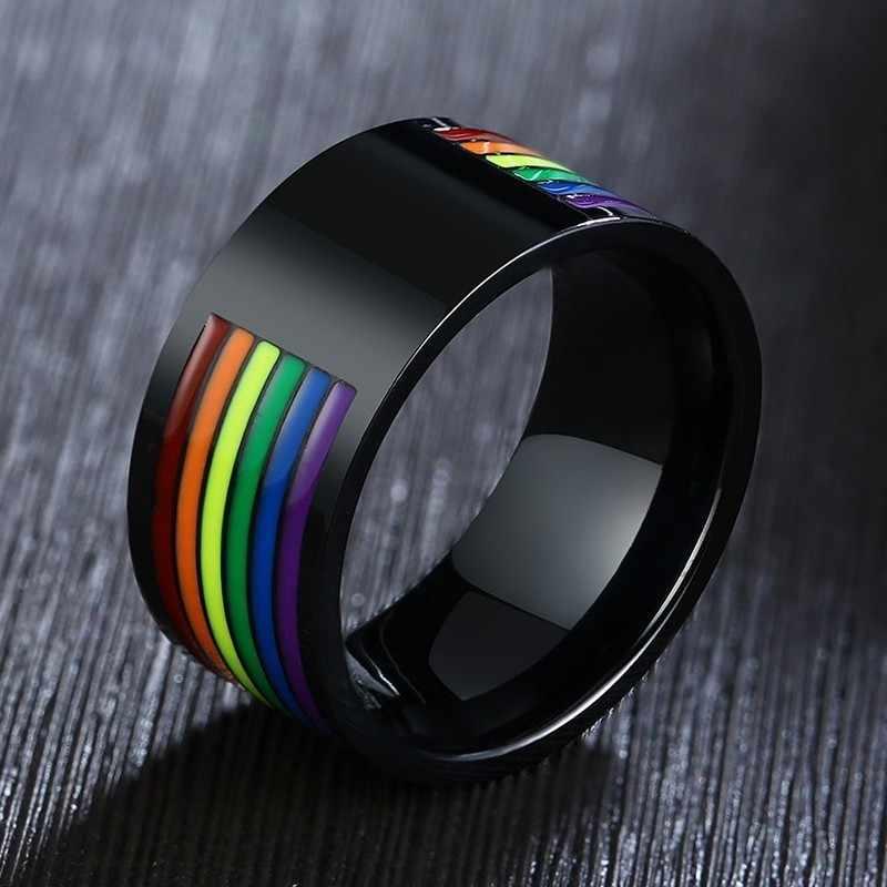 In Acciaio Inox Smalto Arcobaleno Lgbt Pride Anello per Lesbiche Gay da Sposa di Fidanzamento Fasce 10 Millimetri I Regali Degli Uomini
