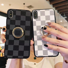 Finger Ring Holder Phone case For iphone X Case For iphone XR Xs max 7 8 6 6s plus Square cases PU leather stand Holder Cover стоимость
