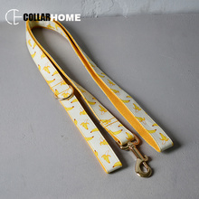 Nylon personalized banana fruit design bow dog collar leash set traction rope for small big dogs adjustable pet straps