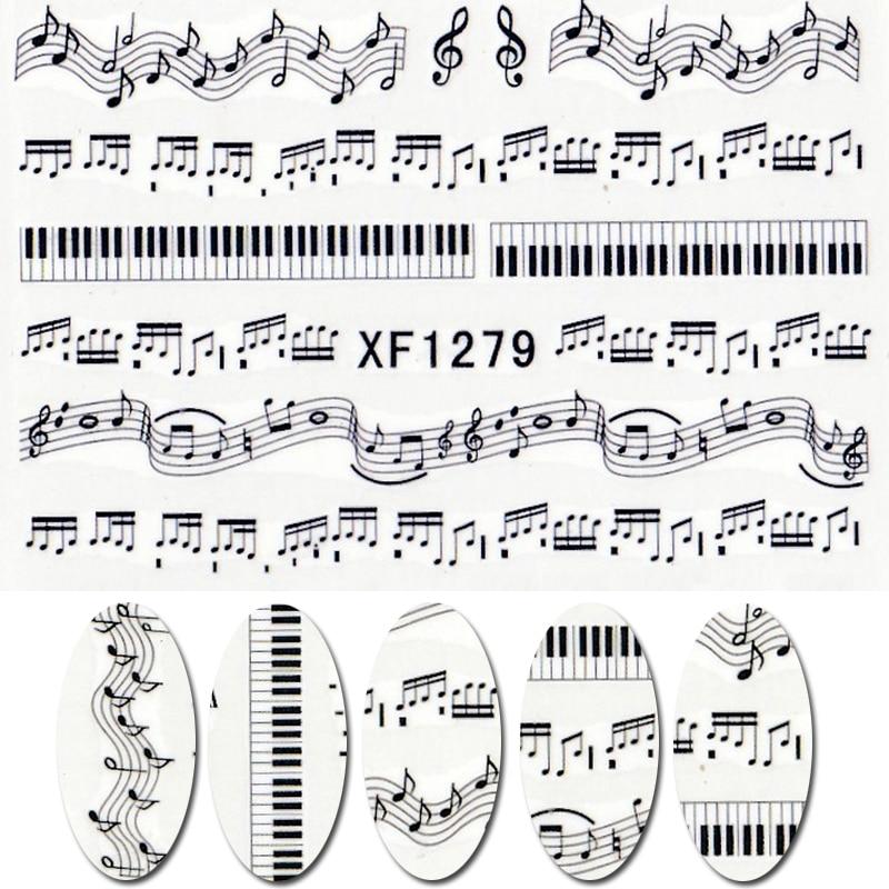 Novo 1 folha de música nota melody água decalques acessórios da arte transferência adesivos dicas decoração salão unhas diy xf1279