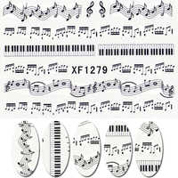 NEW 1 Sheet Music Note Melody Water Decals Art Accessories Transfer Stickers Tips Decoration Nail Salon DIY XF1279