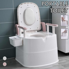 2 Colors Portable Toilet Seat Old Elder Pregnant Woman Removable Toilet Home Bathroom Potty Commode Outdoor Camping Toilets