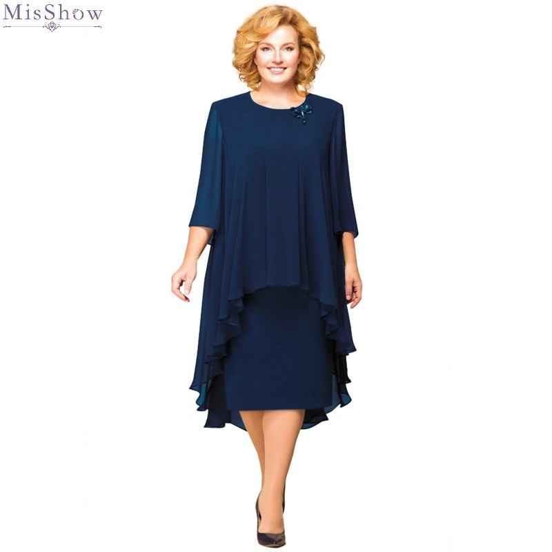 2019 Cocktail Dresses Knee Length Plus Size Short Cocktail Party Dress With Jacket Scoop Neck Half Sleeve Formal Gown