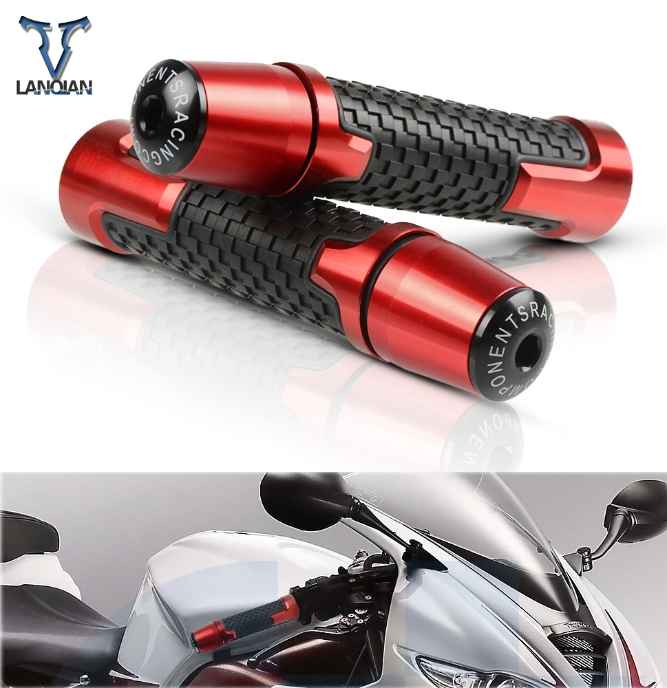 7/8'' Motorcycle Anti-Skid Handle Grips With Handle Grip End CNC 22mm For Africa Twin Honda Cb600f Yamaha Mt10 Monster 900 Dr650
