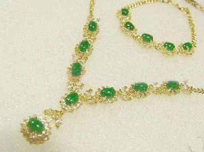 משלוח חינם >>@> בסדר תכשיטים ירוק ירקן שרשרת תליון Bracelet18K זהב מצופה שעון סיטונאי קוורץ אבן CZ קריסטל