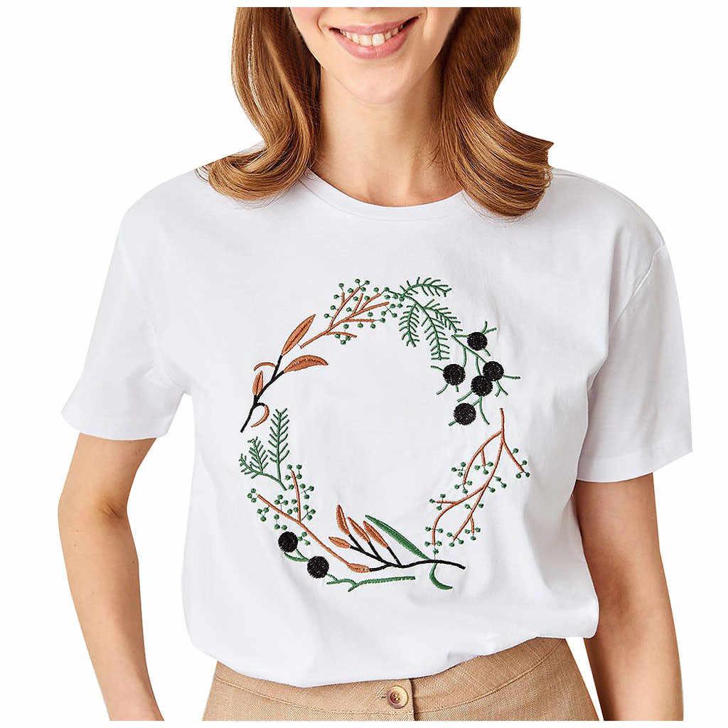"""2020 Áo Thun Nữ Nữ Thời Trang Cổ Tròn Tay Ngắn Thêu Cao Cấp Thẩm Mỹ Camiseta Ropa Mujer """"Top Nữ Bông Tai Kẹp Áo"""