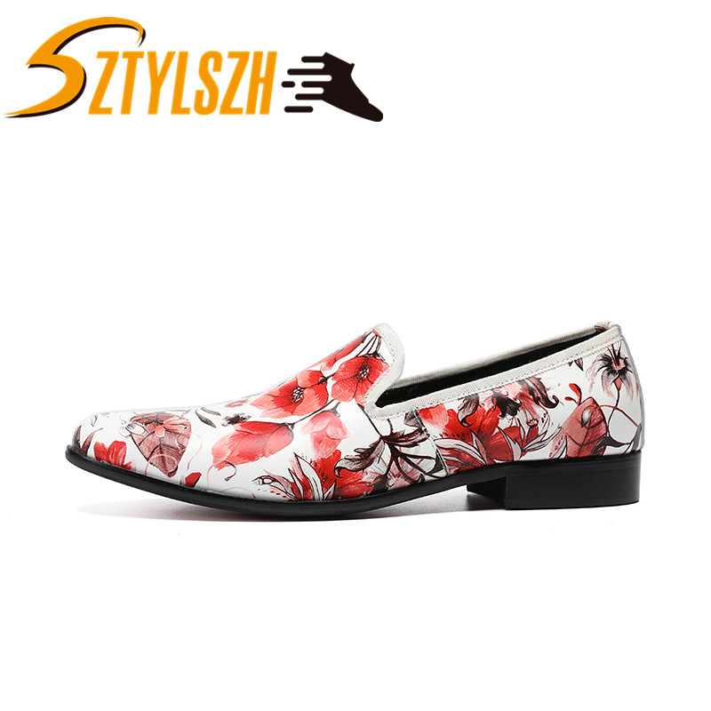 New British Style Flowers Printing Genuine Leather Men Loafers White Wedding Party Male Dress Shoes Clean and fresh Trend Shoes