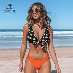 CUPSHE комплект бикини с v-образным вырезом и узлом в виде маргаритки, сексуальный купальник со средней талией и мягкими чашечками, женский куп... 1